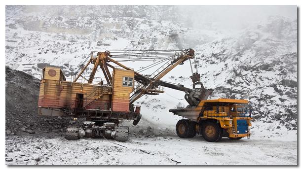 Excavator Extracting Phosphorus Deposits