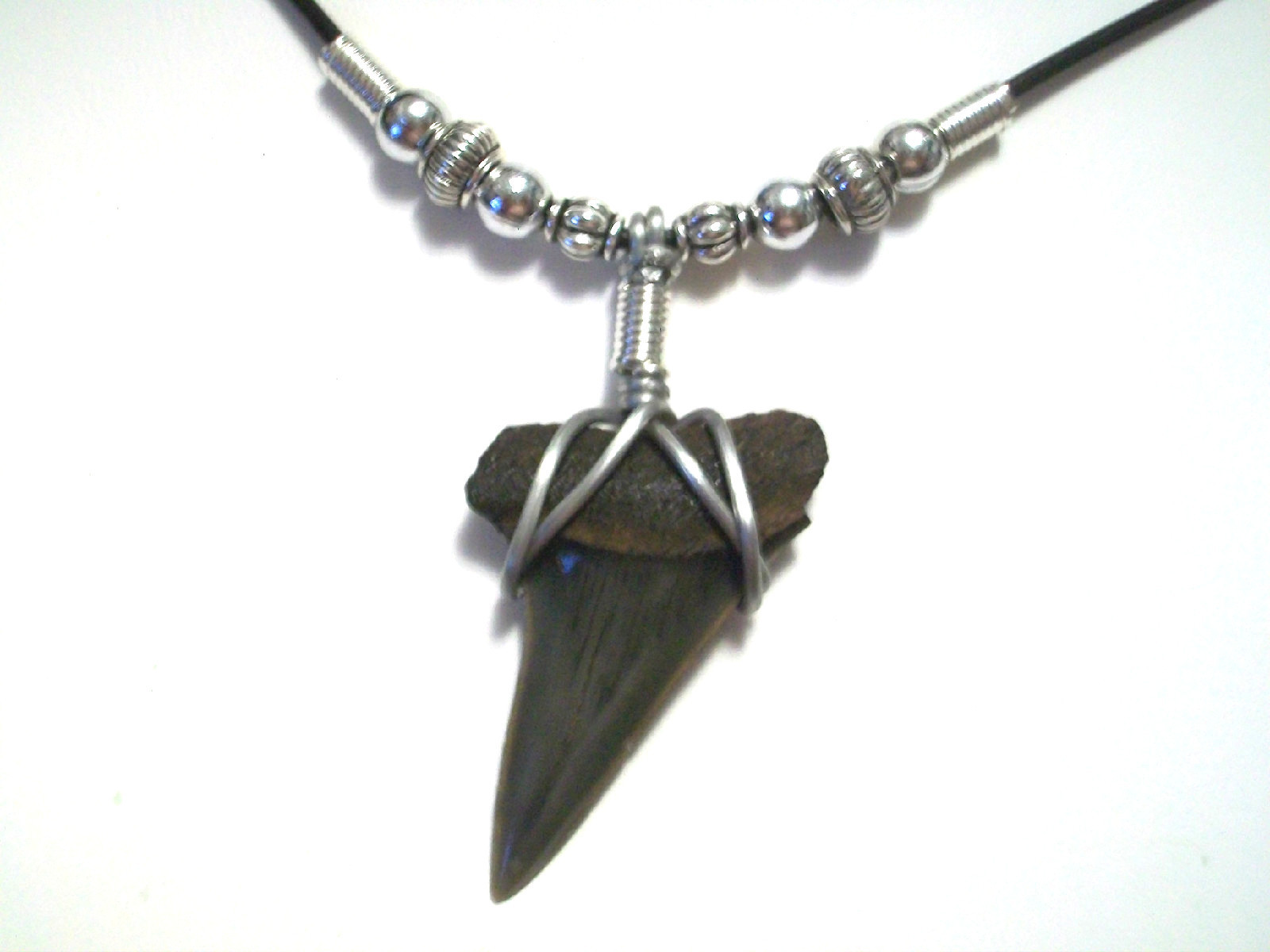 with pendant black shark wood tooth green heishi beads itm necklace p and coconut on